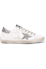 Superstar Swarovski crystal-embellished distressed leather sneakers