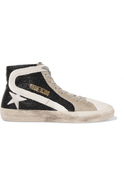 Slide glittered distressed suede high-top sneakers