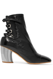 Proenza Schouler Lace-up glossed textured-leather ankle boots