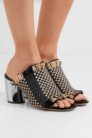 Woven leather and raffia mules