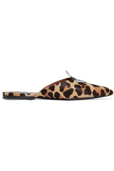 Proenza Schouler Slippers aus Kalbshaar mit Leopardenprint und Ösenverzierung
