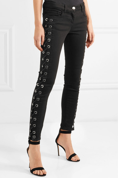 Versus Versace Halbhohe Skinny Jeans mit Schnürung