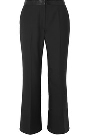 Elizabeth and James Mira cropped satin-trimmed twill flared pants