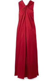 Cavan twist-front satin-twill maxi dress