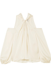 Elizabeth and James Minnie cold-shoulder twist-front satin-twill top