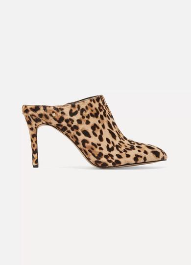 Sam Edelman Oran Mules From Calf Hair With Leopard Print