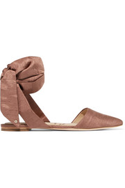 Brandie dupion point-toe flats