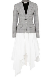 Monse Prince of Wales checked woven and cotton dress