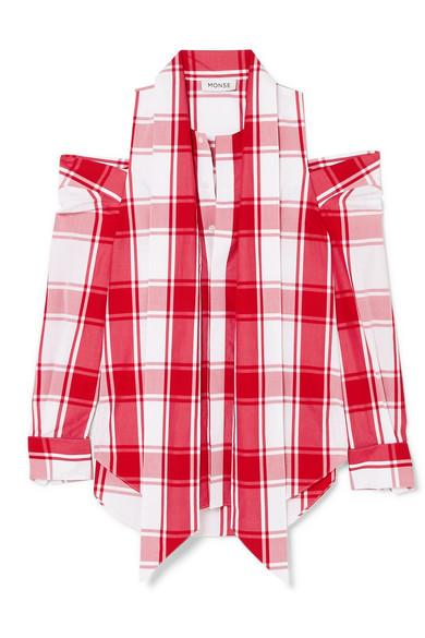 Monse Schulterfreies Hemd aus karierter Baumwollpopeline mit Verzierungen