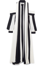 Monse Cold-shoulder striped plissé-crepe midi dress