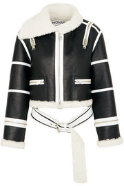 Monse Cropped shearling-lined leather jacket