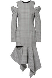 Cutout striped Prince of Wales checked woven midi dress
