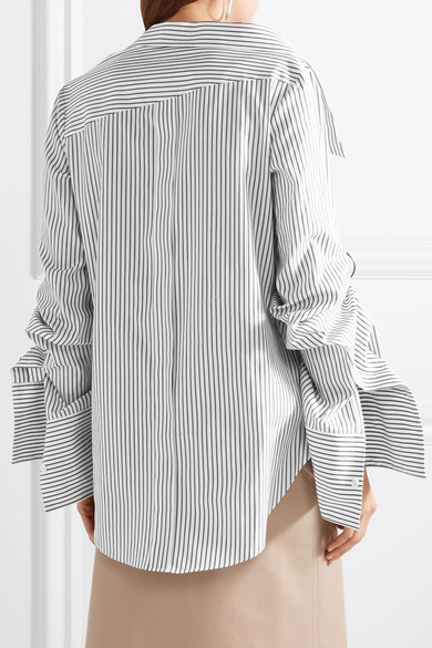 Monse Oversized-Hemd aus gestreifter Baumwollpopeline mit Verzierungen