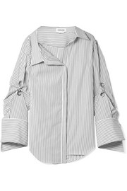 Oversized embellished striped cotton-poplin shirt