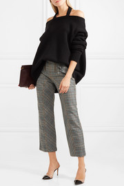 Oversized off-the-shoulder ribbed wool sweater