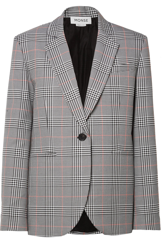Monse Oversized embellished Prince of Wales checked woven blazer