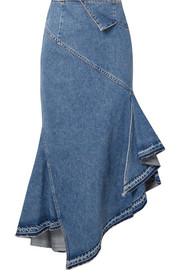 Monse Asymmetric denim midi skirt