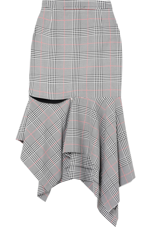 Monse Ruffled Prince of Wales checked woven skirt
