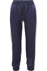 Striped stretch-silk satin track pants