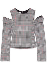 Glen cutout Prince of Wales checked woven top