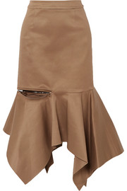 Monse Ruffled cotton-blend gabardine midi skirt