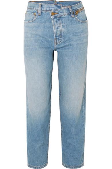 Monse Dad dekonstruierte, schmal geschnittene Boyfriend-Jeans mit Reißverschluss