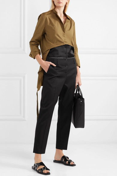 Jil Sander Trousers With Narrow Leg From Wool-twill With Satin Ribbon And Braid