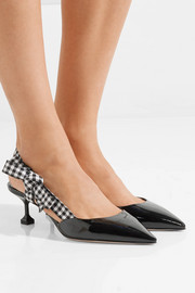 Patent-leather and gingham canvas slingback pumps