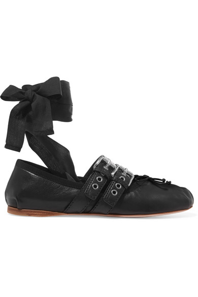 cab92a75fde Miu Miu. Lace-up leather ballet flats