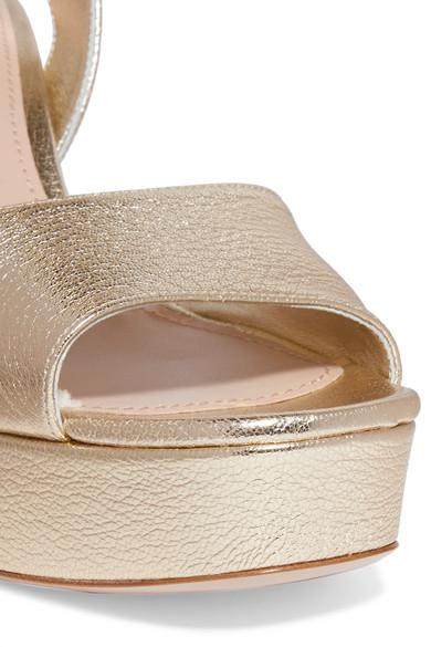 Platform Textured Leather Sandals Metallic cAj3RLq54S
