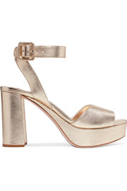 Metallic textured-leather platform sandals