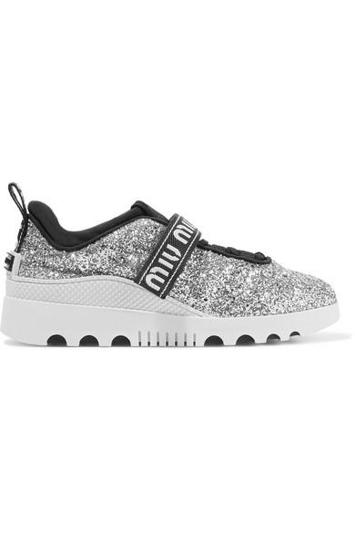 Miu Miu Sneakers aus Neopren und Gummi mit Glitter-Finish und Logostickerei 2018 Unisex T7M2EjbXWM