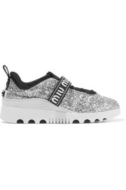 Logo-embroidered glittered neoprene and rubber sneakers