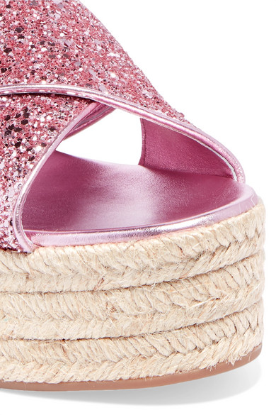 Miu Miu Plateau Sandals In Espadrille Style Of Leather With Glitter-finish