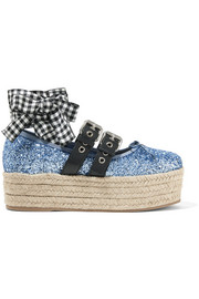 Leather-trimmed glittered canvas platform espadrilles