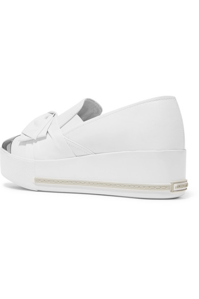 Miu Miu Slip-on Sneakers In Leather With Plateau And Metal Cap