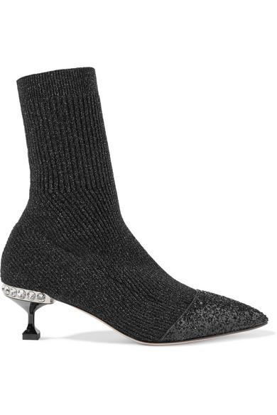 14f6203fd81d Miu Miu. Glittered metallic ribbed-knit sock boots