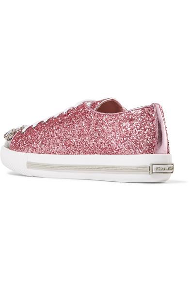 6e27b83c3519 Miu Miu | Crystal-embellished glittered leather sneakers | NET-A ...