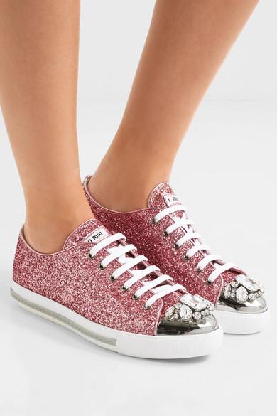Miu Miu mit | Sneakers aus Leder mit Miu Glitter-Finish und Kristallen 5e2249