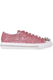 Embellished glittered leather sneakers