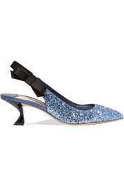 Miu Miu Glittered leather and satin slingback pumps
