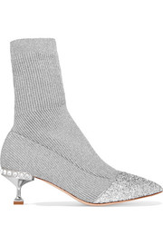 Glittered metallic ribbed-knit sock boots