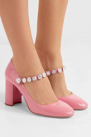 Crystal-embellished Patent-leather Mary Jane Pumps - Pink Miu Miu EsJzIx7