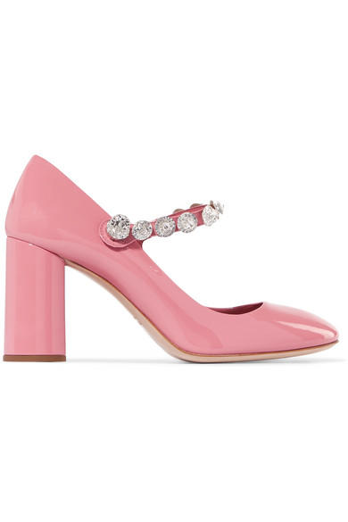 8eb2dde5a377 Miu Miu - Crystal-embellished Patent-leather Mary Jane Pumps - Pink