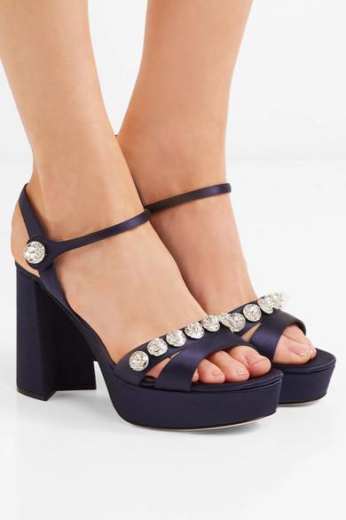 0d18279b89bb Miu Miu. Crystal-embellished satin platform sandals