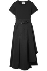 3.1 Phillip Lim Belted cotton-blend jersey and cotton-canvas midi dress