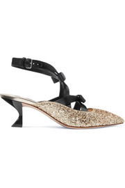 Miu Miu Bow-embellished satin and glittered canvas pumps