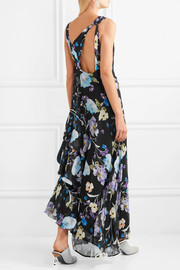 Tiered floral-print silk-crepon maxi dress