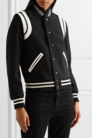 fc1670042 Teddy leather-trimmed wool-blend bomber jacket