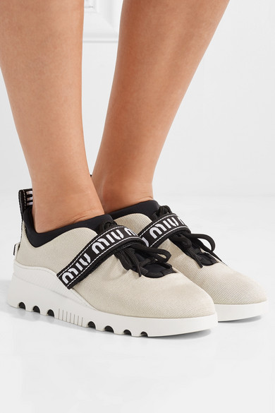Miu Miu Sneakers From Neoprene And Rubber With Logo Embroidery